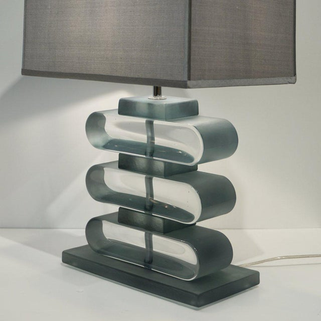 Not Yet Made - Made To Order Italian Modern Nickel and Smoked Aqua Murano Glass Architectural Lamps - a Pair For Sale - Image 5 of 10