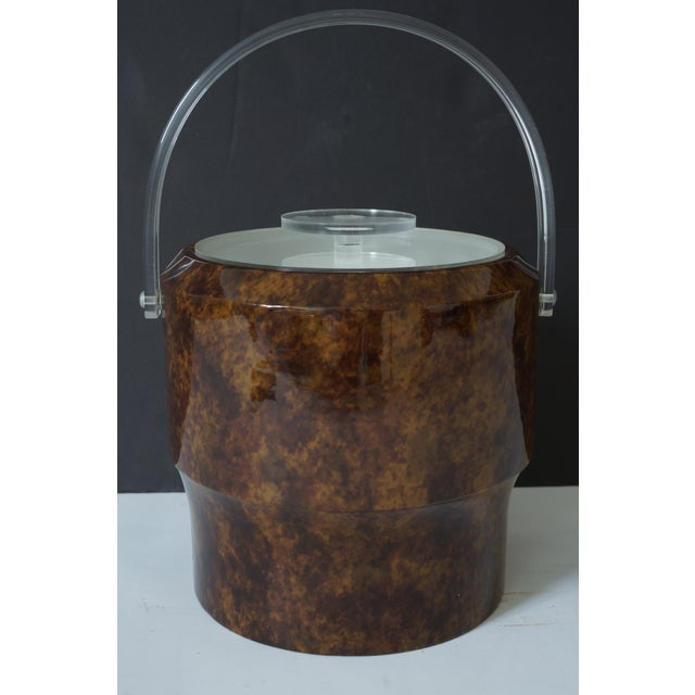 Vintage Saks 5th Nyc Gift Boutique's Ice Bucket - Faux Tortoise Shell and Lucite - from a Palm Beach estate. Please note...