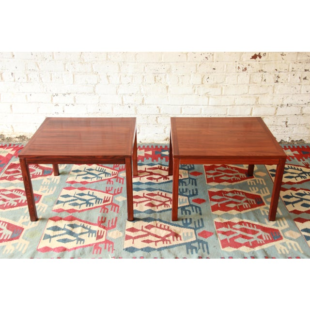 Contemporary Henning Kjærnulf for Vejle Stole Danish Modern Rosewood Side Tables - a Pair For Sale - Image 3 of 7