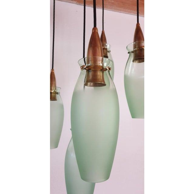 Green Italian Mid-Century Modern Brass & Glass Flush Mount, Arredoluce For Sale - Image 8 of 13