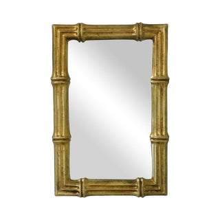 Hollywood Regency Vintage Faux Bamboo Gilt Frame Mirror For Sale
