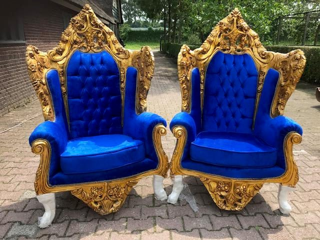 Rococo / Baroque Style Chairs In Royal Blue Velvet   A Pair   Image 7 Of