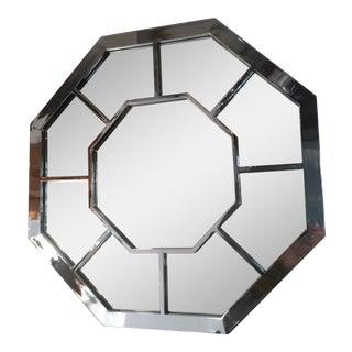 Vintage Chrome Octagonal Mirror For Sale