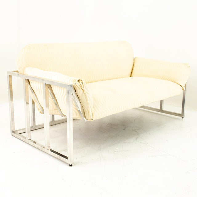 Milo Baughman Style Mid Century Floating Chrome Setee For Sale - Image 10 of 10