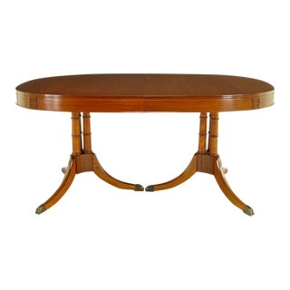 Double Pedestal Sheraton Style Mahogany Dining Table For Sale
