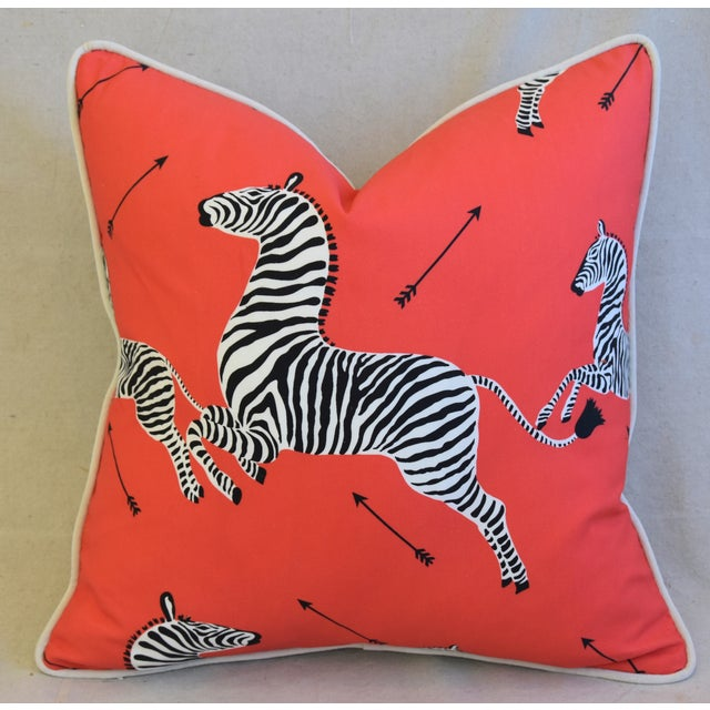 """Early 21st Century Scalamandre Iconic Zebra & Velvet Feather/Down Pillow 20"""" Square For Sale - Image 5 of 10"""