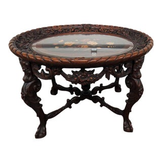 20th Century Victorian Style Glass Top Coffee Table For Sale