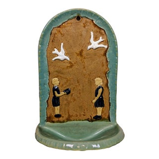 1930s Folk Art Hanging Art Pottery Fountain For Sale