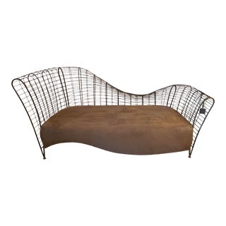 Custom Curved Iron Settee For Sale