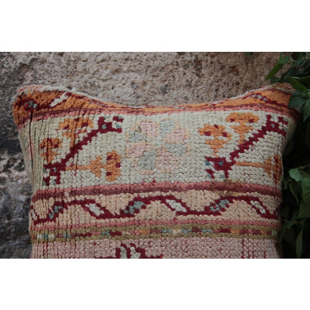 """This is beautiful Carpet pillow, it""""s made from old Turkish rug. it has been soft washing before be come a pillow. The..."""