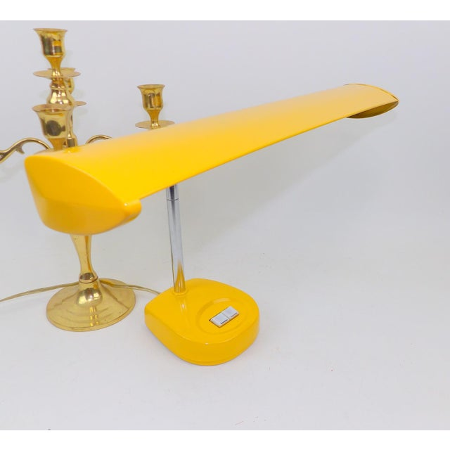 Antique Marigold Yellow Goose Neck Tanker Desk Lamp - Image 2 of 7