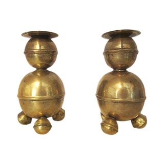 Swedish Brass Candleholders - A Pair