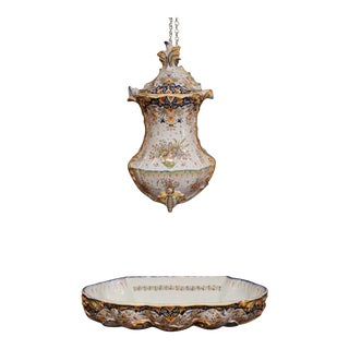 Early 20th Century, French Hand-Painted Wall Faience Lavabo Fountain From Rouen For Sale
