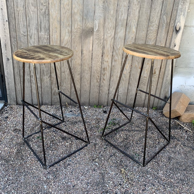 Metal Modern Kalalou Rustic Wood and Metal Bar Stools- a Pair For Sale - Image 7 of 13