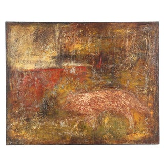 Original Encaustic Oil on Canvas Painting of Fox For Sale