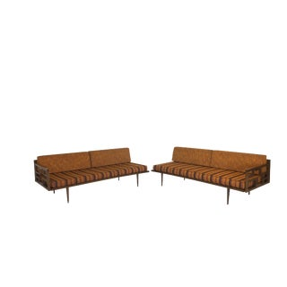 Mid Century Modern Two Piece Wood Framed Sectional Daybeds For Sale