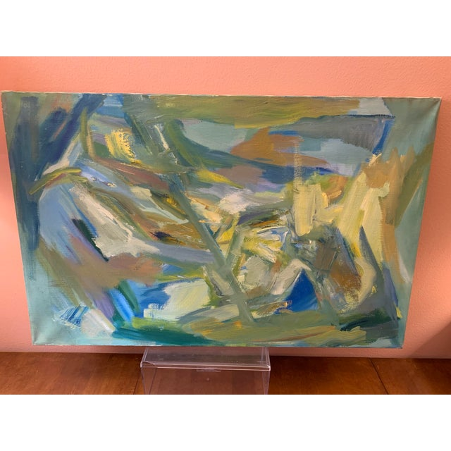 """Mid-Century Modern Abstract Oil Painting on Canvas """"Venice"""" 1964 For Sale In Detroit - Image 6 of 11"""