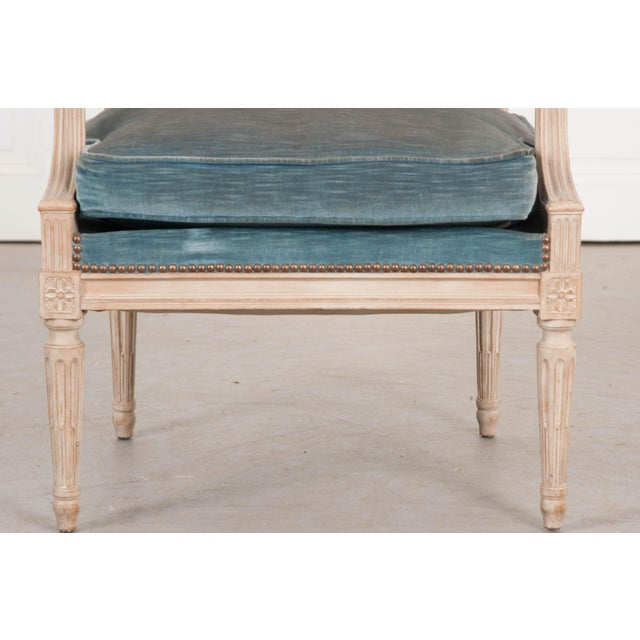 Blue 19th Century French Louis XVI Style Painted Fauteuil Chair For Sale - Image 8 of 12