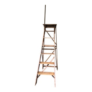 Antique English Beech Wood Library Ladder For Sale