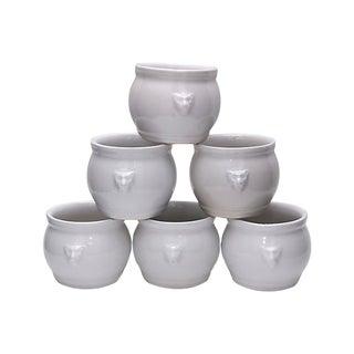 Vintage French Pots De Crème W/ Lion Handles - Set of 6 For Sale