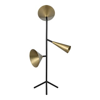 Strato Floor Lamp, Black Metal and Brass Finish For Sale