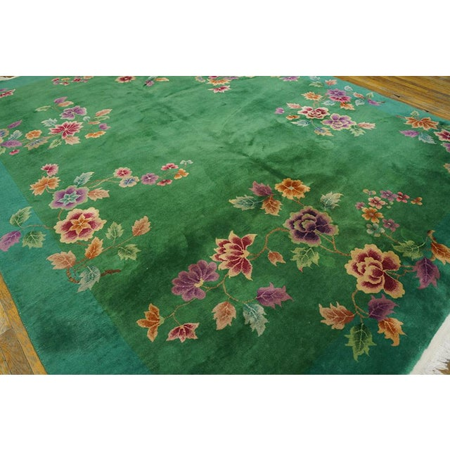 """Art Deco Chinese Art Deco Green Rug - 8'8""""x11'4"""" For Sale - Image 3 of 7"""