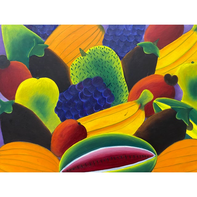 """Wood Haitian Artist Alberoi Bazile """"Fruit"""" Still Life Oil Painting in Hand Carved Frame C.1970 For Sale - Image 7 of 13"""