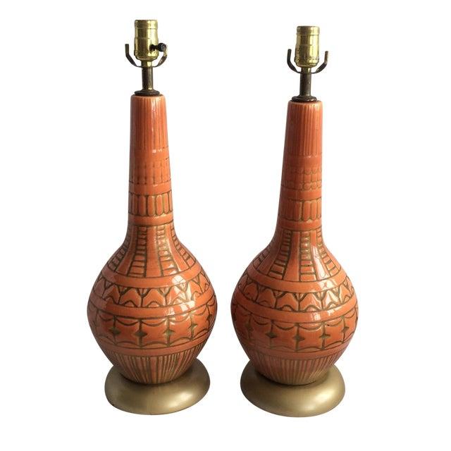 Mid Century Glazed Lamps - Pair - Image 1 of 6