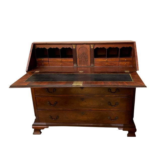 Brown Antique Flame Mahogany Slant Front Desk For Sale - Image 8 of 8