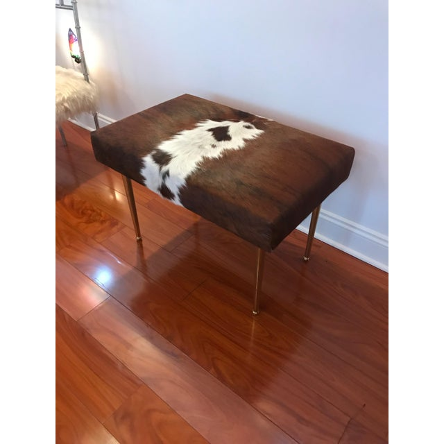 Modern Cow Hide Upholstered Bench With Brass Legs For Sale - Image 4 of 13