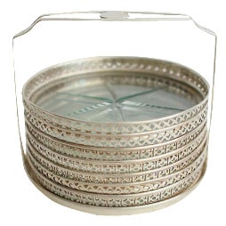 Sterling & Glass Coasters - Set of 7