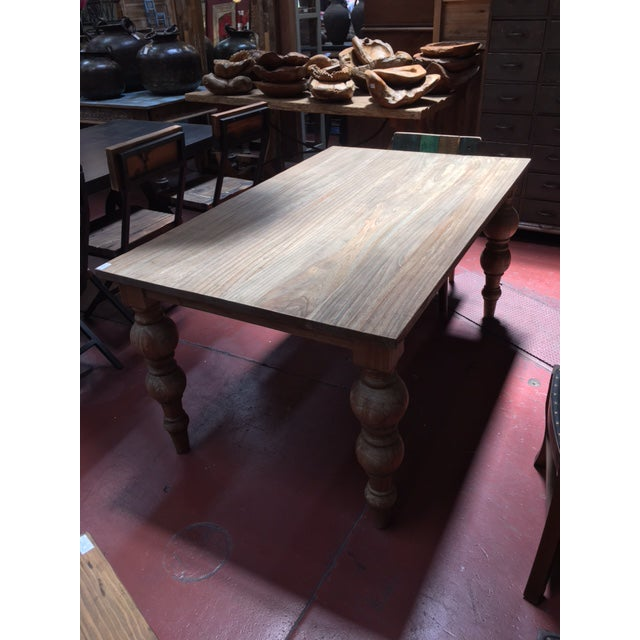Contemporary Reclaimed Ball Leg Table For Sale - Image 3 of 6