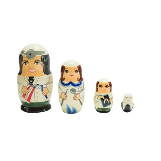 Hand-Painted Russian Doll Nesting Dentist and Tooth Set For Sale