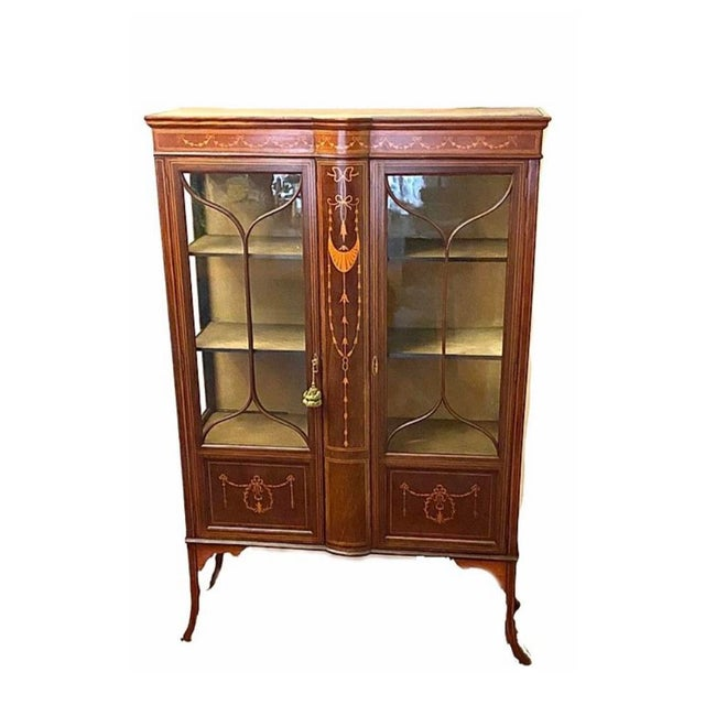 1910 Adam-Style Mahogany China Cabinet For Sale - Image 10 of 12