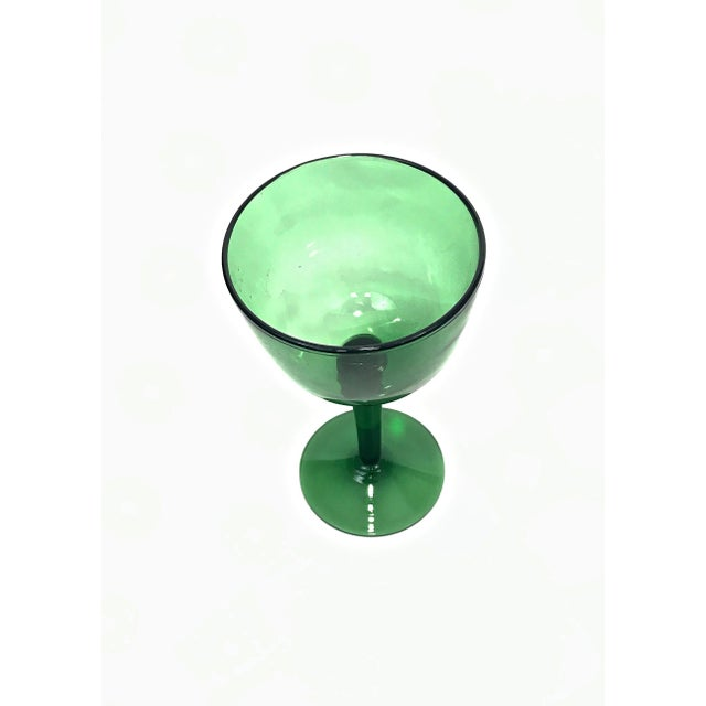 Contemporary 1960s Green Blown Glass Compote For Sale - Image 3 of 7