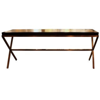 1970's Vintage Walnut and Brushed Brass Console Table For Sale