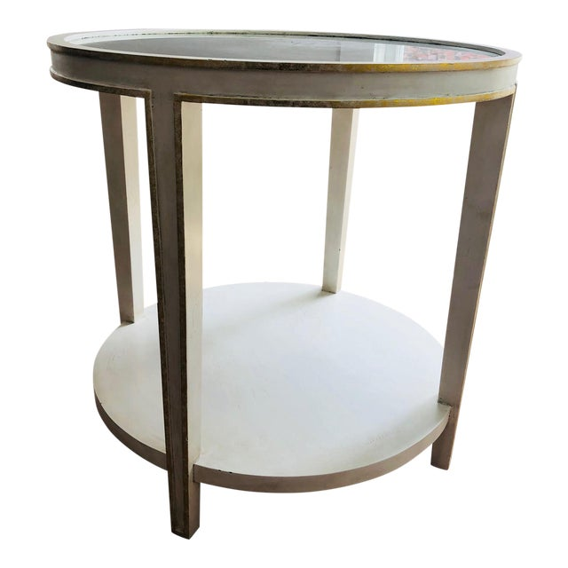 Oly Contemporary Round Mirrored & Smoky Top on White Wood Frame Side Table For Sale
