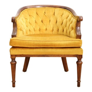 Vintage Tufted Velvet Mustered Yellow Chair