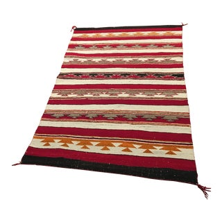 1950's Revival Style Navajo Woven Hand Spun Wool Rug - 3′7″ × 5′2″ For Sale