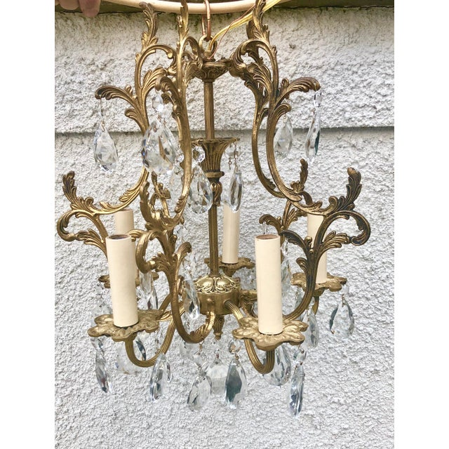 Belle Epoque 1920s Antique French Ormolu 5-Light Crystal Chandelier For  Sale - Image 3 - 1920s Antique French Ormolu 5-Light Crystal Chandelier Chairish