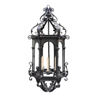 Massive Wrought Iron Designer Lantern Chandelier For Sale
