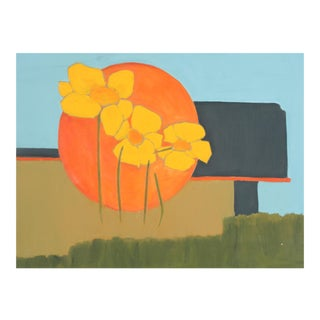 Abstracted Poppies Acrylic Painting, 1960s For Sale