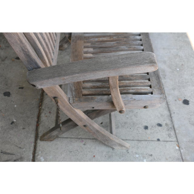 Contemporary Vintage Set of Teak Outdoor Patio Chairs For Sale - Image 3 of 13