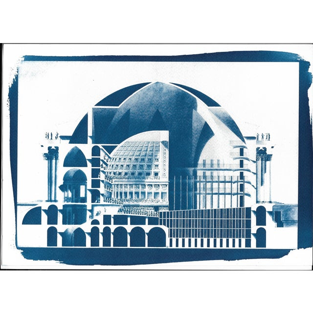 Cyanotype Print - Neoclassical Building - Image 1 of 3