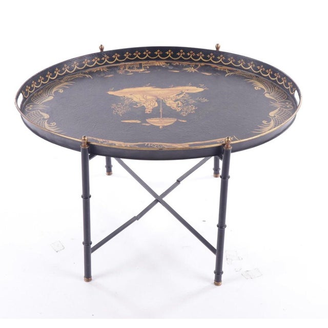 Asian Chinoiserie Style Italian Painted Tray Table For Sale - Image 3 of 11