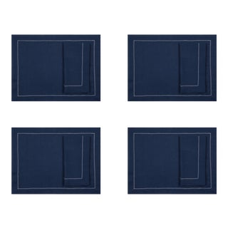 Navy Linen Placemats and Dinner Napkins with Ivory Contrast Hemstitch - 8 Pieces For Sale