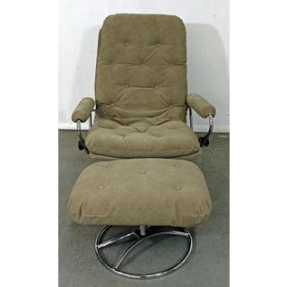Mid-Century Modern Ekornes Stressless Chrome Lounge Chair & Ottoman Preview