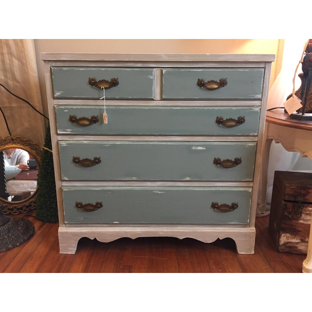 Gray & Teal Distressed Dresser - Image 2 of 5