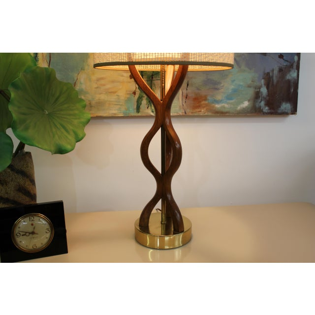 Brown Mid Century Modern danish table lamp For Sale - Image 8 of 11