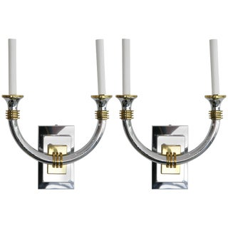 Art Deco Revival Polished Brass and Chrome Wall Sconces - a Pair For Sale